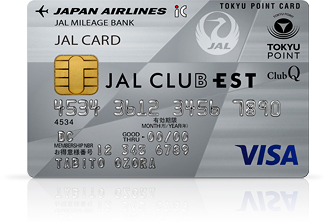 JAL CLUB EST 普通カード(JALカード TOKYU POINT ClubQ Visaカード) 券面
