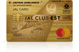 JAL CLUB EST CLUB-Aゴールドカード(JALカード TOKYU POINT ClubQ Mastercard) 券面